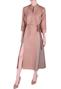khadi-front-slit-stripe-pattern-dress
