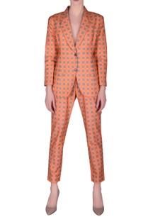 check-printed-blazer-pant-set