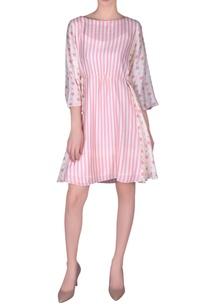 stripe-printed-cotton-silk-flared-dress