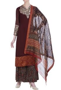 aari-embroidered-kurta-with-printed-palazzos-dupatta