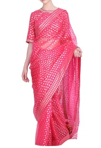 crepe-organza-floral-printed-saree-with-foil-blouse