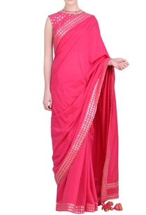 foil-printed-border-saree-with-embroidered-blouse