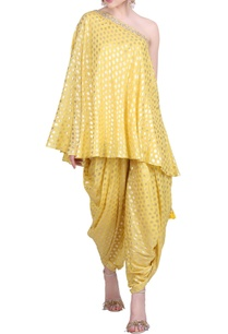 foil-printed-one-shoulder-kurta-with-dhoti-pants