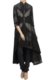chanderi-high-low-flared-kurta