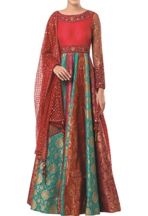 embroidered-anarkali-gown-with-net-mesh-dupatta