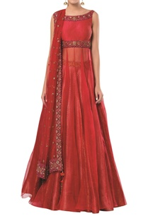 embroidered-long-kurta-with-lehenga-and-dupatta