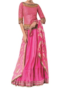 embroidered-long-blouse-with-flared-skirt-and-banarasi-dupatta