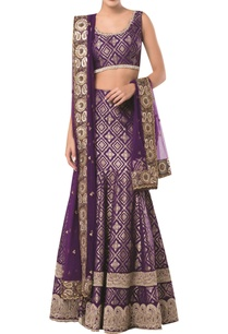 sleeveless-blouse-with-brocade-embroidered-lehenga-and-dupatta