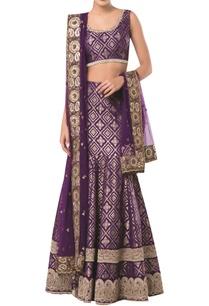 sleeveless-blouse-with-brocade-embroidered-lehenga-and-dupatta