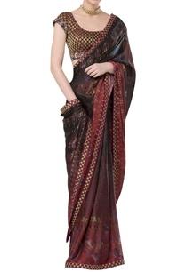 printed-sari-with-brocade-border-and-blouse