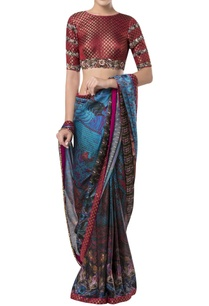 embroidered-blouse-with-printed-sari