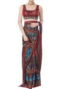 brocade-embroidered-blouse-with-printed-sari
