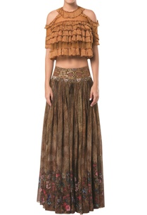 cold-shoulder-layered-crop-top-blouse-with-printed-lehenga