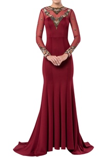 floor-length-gown-with-sheer-embroidered-neckline