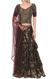 frilly-layered-lehenga-with-brocade-blouse-and-net-dupatta