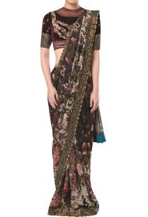 brocade-print-sari-with-embellished-blouse