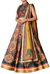 dupion-floral-lehenga-with-halter-blouse-dupatta