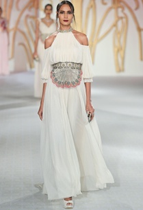 cold-shoulder-pleated-gown