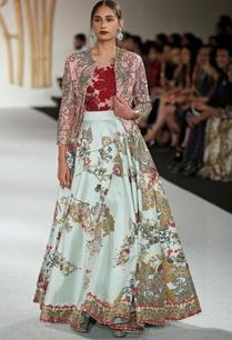 dupion-silk-floral-printed-lehenga-with-leotard-jacket
