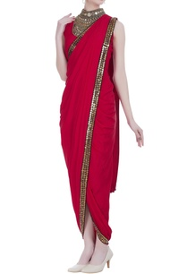 coin-mirror-work-pre-draped-sari-with-attached-blouse