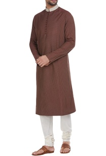 brown-cotton-spun-pin-tuck-kurta-with-cream-churidar
