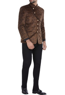 brown-printed-velvet-bandhgala-with-military-button