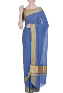 pure-zari-work-handloom-cotton-sari-unstitched-blouse