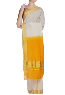 dual-toned-dyed-handloom-zari-work-sari-with-unstitched-blouse