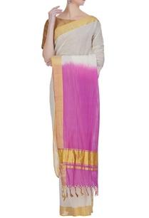 pure-zari-work-dual-tone-handloom-sari-with-unstitched-blouse