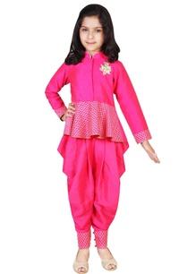 embroidered-peplum-top-with-dhoti-pants