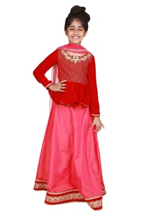 embroidered-peplum-blouse-with-lehenga-and-dupatta