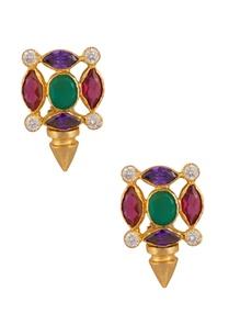 multicolored-stone-circular-stud-earrings