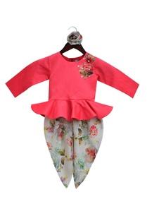 peplum-top-with-floral-print-dhoti-pants