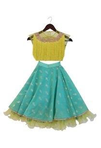 green-tassel-crop-top-with-frilly-skirt