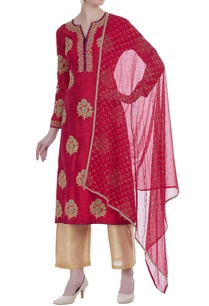 raw-silk-thread-embroidered-kurta-set