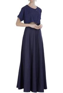 blue-denim-flared-skirt
