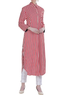 red-cotton-striped-long-tunic