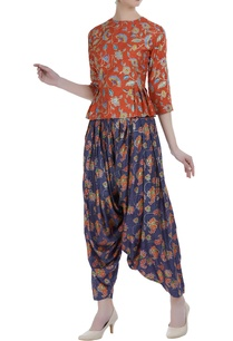 floral-printed-blouse-with-dhoti-pants