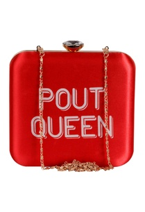 pout-queen-printed-clutch-with-long-chain