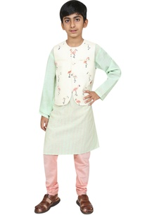 flamingo-motif-embroidered-jacket-with-kurta-and-churidar