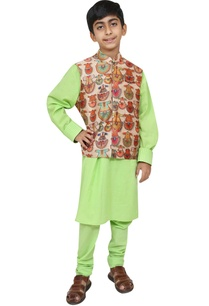 printed-jacket-with-kurta-and-churidar