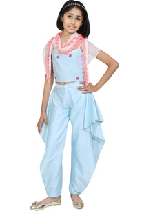 spaghetti-sleeves-blouse-with-cowl-dhoti-pants-and-scarf