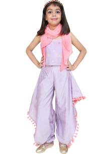 cowl-dhoti-pants-with-spaghetti-sleeves-blouse-and-scarf