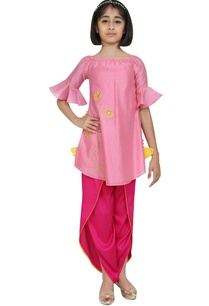 floral-motif-embroidered-kurta-with-dhoti-pants