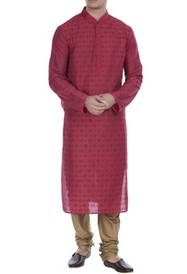 printed-mandarin-collar-kurta-with-churidar