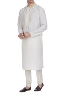 block-printed-tussar-silk-kurta-with-churidar