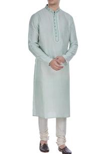 block-printed-tussar-silk-kurta-set