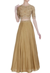 raw-silk-georgette-hand-embroidered-sequin-lehenga-with-blouse