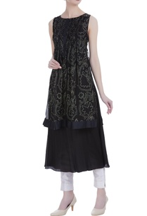 black-silk-discharge-print-pin-tuck-knee-length-tunic