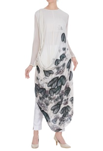 psychedelic-floral-printed-draped-tunic